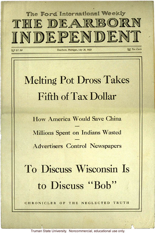 &quote;Melting Pot Dross Takes Fifth of Tax Dollar,&quote; The Dearborn Independent (7/28/1923)