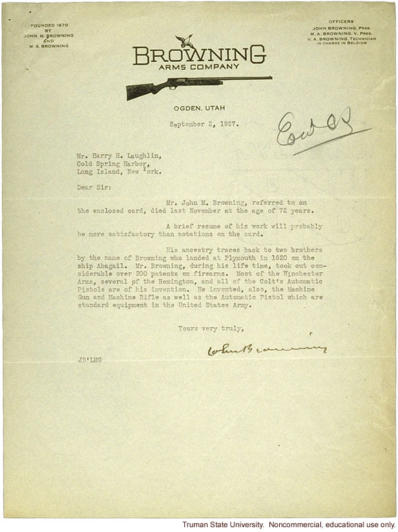 Browning Arms Company letter to H. Laughlin about research study on immigration