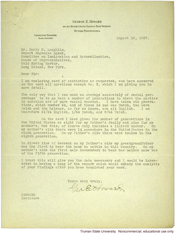 G. Howard letter to H. Laughlin about research study on immigration