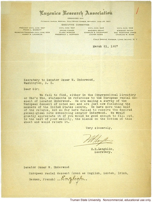 H. Laughlin letter to O. Underwood, about European racial descent of Underwood