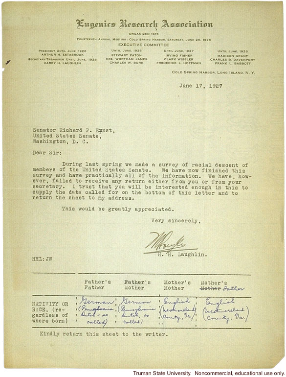 H. Laughlin letter to Senator Ernst, about Ernst's failure to respond to Senator survey
