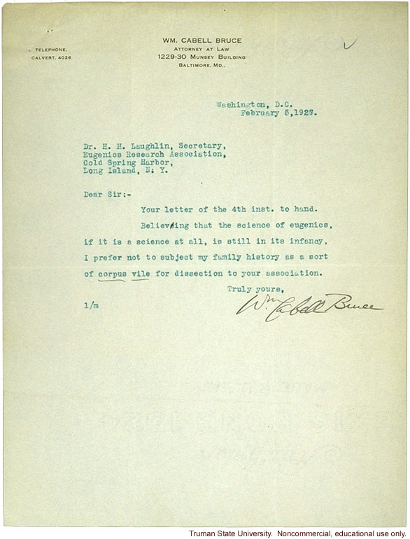 C. Bruce letter to H. Laughlin objecting to the racial descent study of U.S. senators