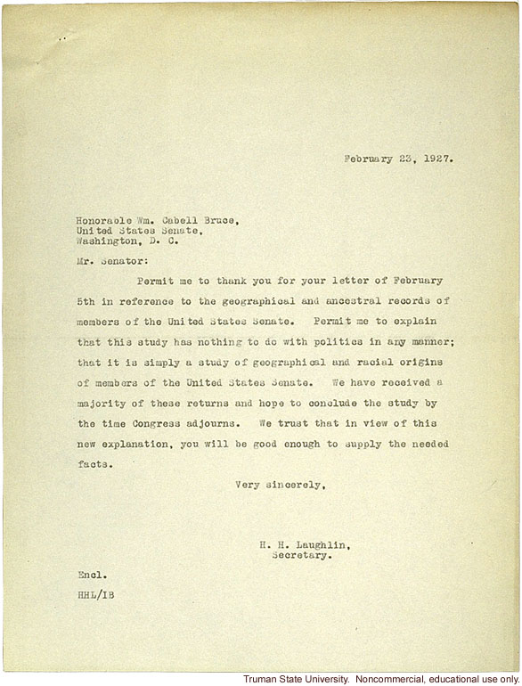 H. Laughlin response to C. Bruce's objections to the racial descent study of U.S. senators