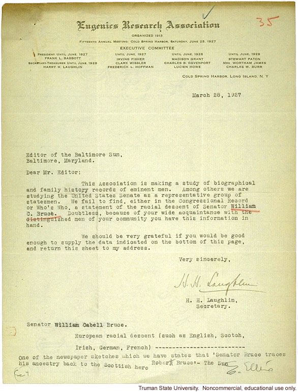 H. Laughlin's letter to Baltimore Sun about getting data on C. Bruce for racial descent study of U.S. senators