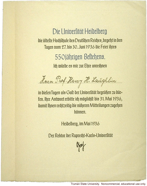 Invitation to Harry Laughlin to attend the 550th Jubilee of University of Heidelberg (at which he was conferred an honorary degree).