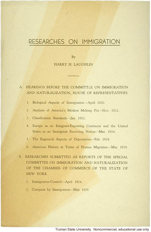&quote;Researches on immigration,&quote; by H. Laughlin