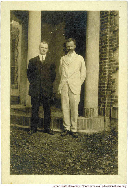 Harry Laughlin and Charles Davenport outside new Eugenics Record Office (ERO)building