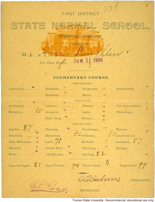 H. Laughlin's report card from First District Normal School (now Truman State University), Kirksville, Missouri