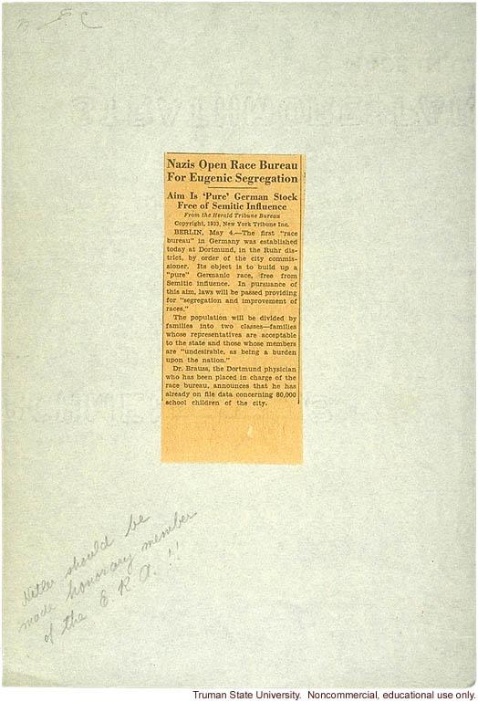 &quote;Nazis open race bureau for eugenic segregation,&quote; New York Tribune, May 4, 1933