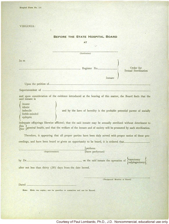 Virginia order form for sterilization procedure