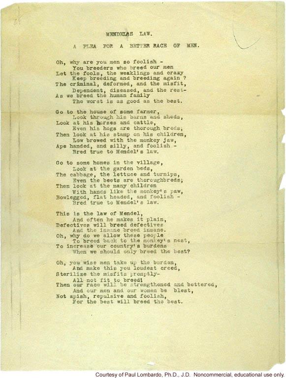 Mendel's Law Poem, by Joseph DeJarnette, MD, witness in Buck vs. Bell case