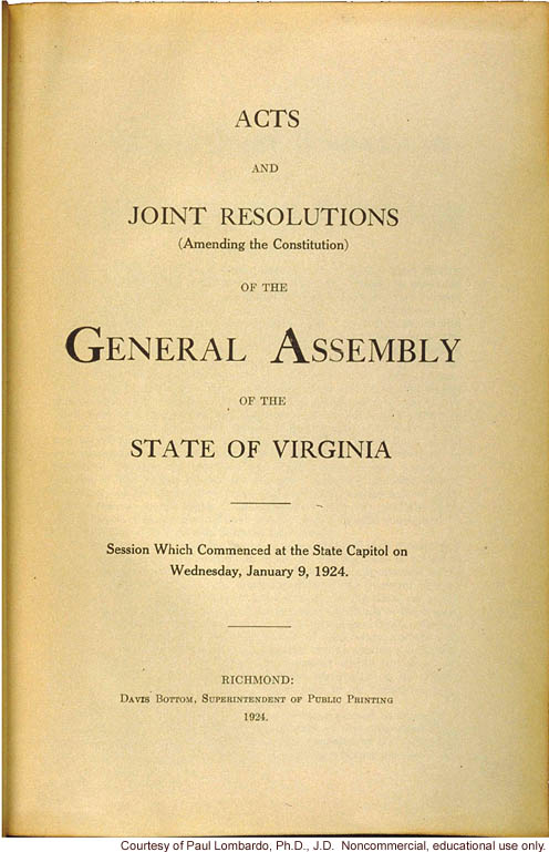 Virginia Sterilization Act of 3/20/1924
