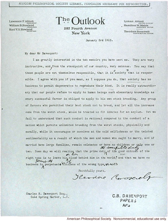 T. Roosevelt letter to C. Davenport about &quote;degenerates reproducing&quote;