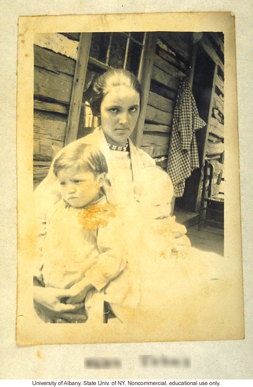 Susan Brown (pseudonym) from Arthur Estabrook's scrapbook of field photographs from Amherst County, and corresponding entry in Mongrel Virginians