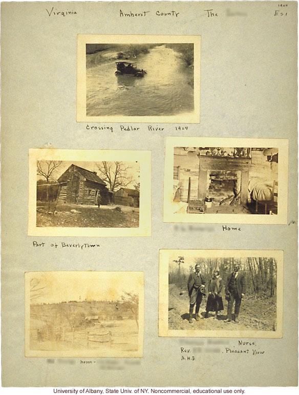 Field work for <i>Mongrel Virginians</i> in Amherst County, Virginia, Arthur Estabrook's scrapbook
