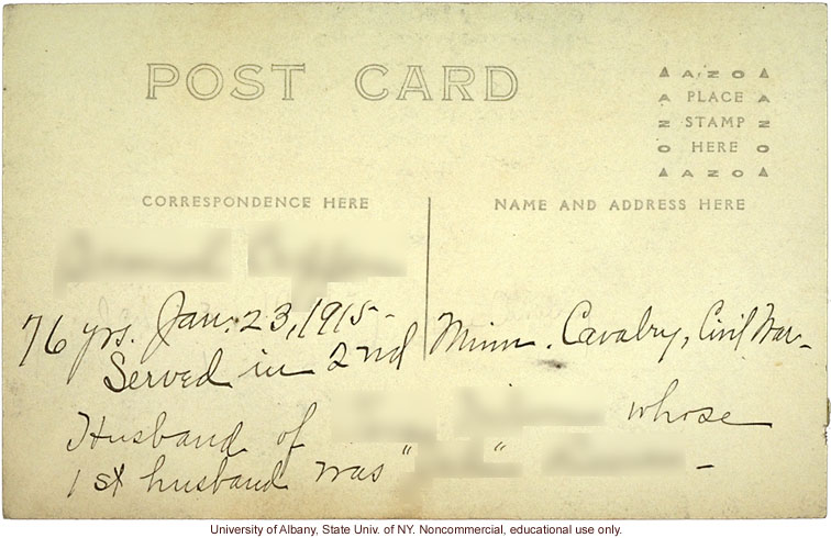 Civil War veteran, field work for <i>The Jukes in 1915</i>, Arthur Estabrook photo post card from Ulster County, New York