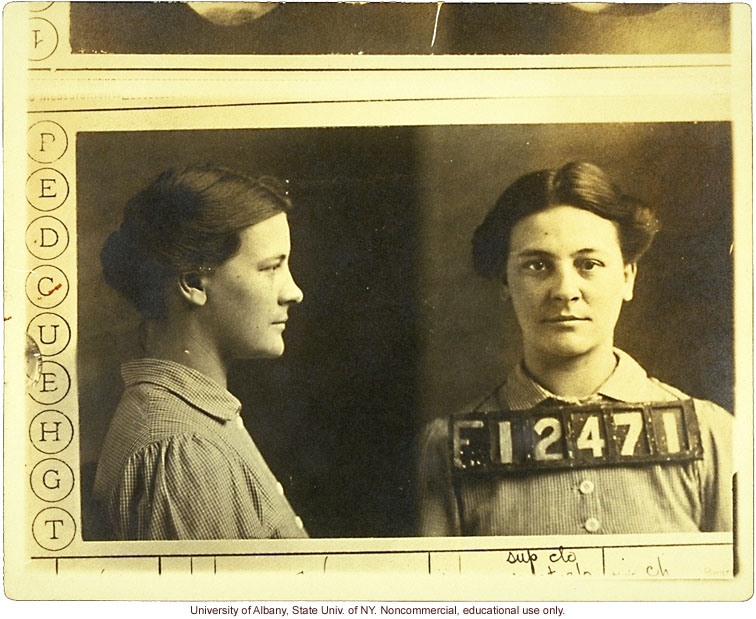 Prison mug shot of VII20 and corresponding entry in Estabrook's typescript &quote;The Jukes Data&quote; (photo laid in Estabrook's copy of R. Dugdale's The Jukes)
