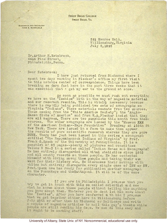 I. McDougle letter to A. Estabrook, about new studies of race mixing in Virginia and need to rush publication of their own work (7/5/1925)