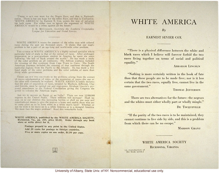 Book reviews of <i>White America</i> by Ernest S. Cox