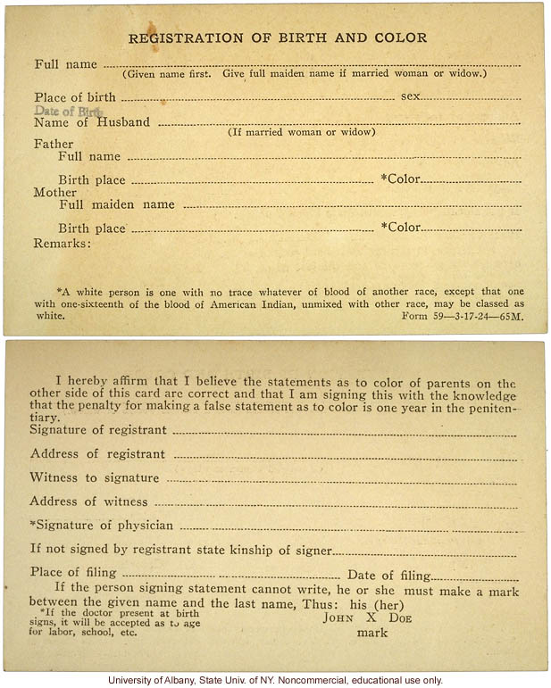 &quote;Registration of Birth and Color,&quote; State of Virginia form