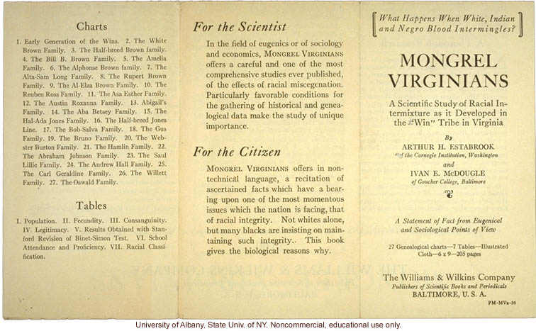 Brochure advertising <i>Mongrel Virginians</i>, by Arthur H. Estabrook and Ivan E. McDougle