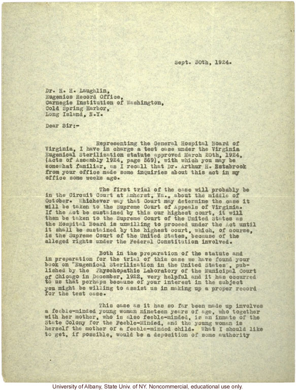 A. Strode letter to H. Laughlin, requesting a deposition on hereditary feeblmindedness for the trial of Carrie Buck in Amherst, Virginia (9/30/1924)