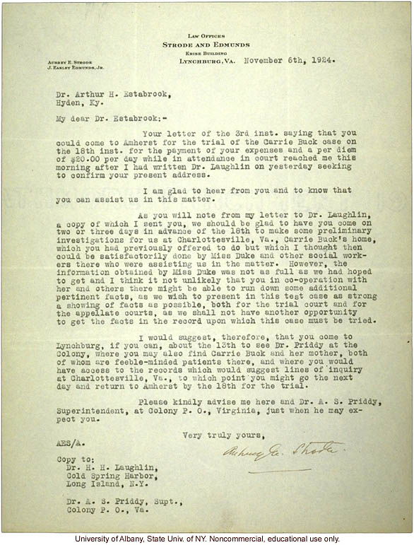 A. Strode letter to A. Estabrook, plans for making &quote;preliminary investigations&quote; prior to testifying at the Carrie Buck trial (1/6/1924)