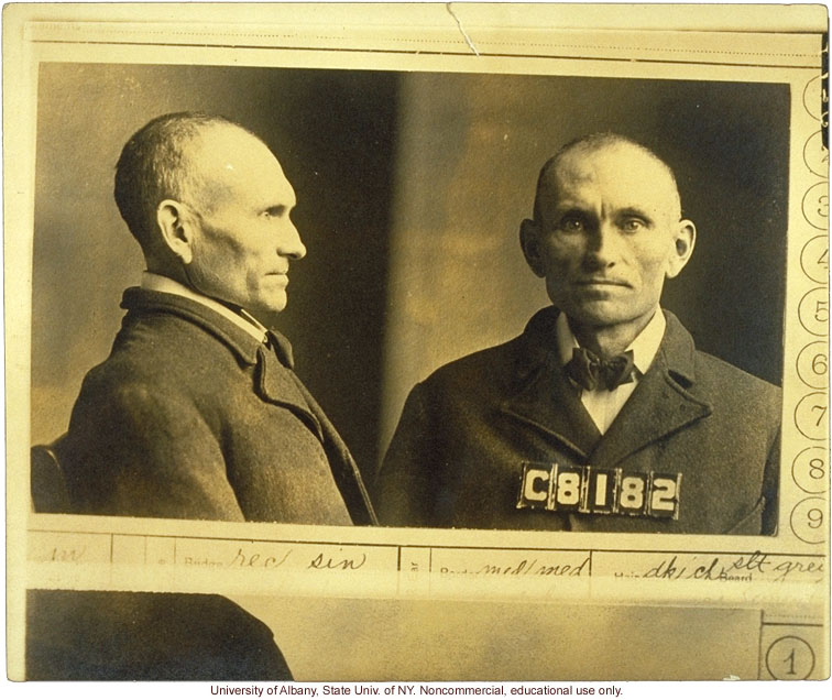 Prison mug shot of Edgar (V428) and corresponding entry in <i>The Jukes in 1915</i>, by A.H. Estabrook (photo laid in copy of R. Dugdale's The Jukes)