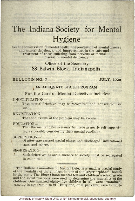 &quote;Indiana Society for Mental Hygiene Bulletin No. 7&quote; (July 1920), statistics on mental illness and feeblemindedness in institutions around the U.S.