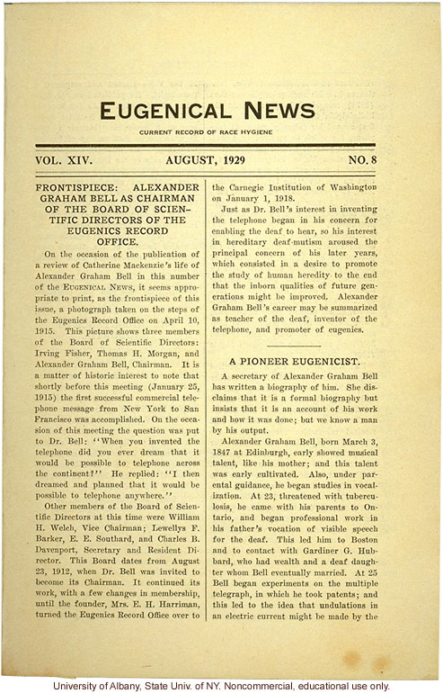 &quote;Alexander Graham Bell as Chairman of the Board of Scientific Directors of the Eugenics Record Office,&quote; Eugenical News (vol. 14:8)