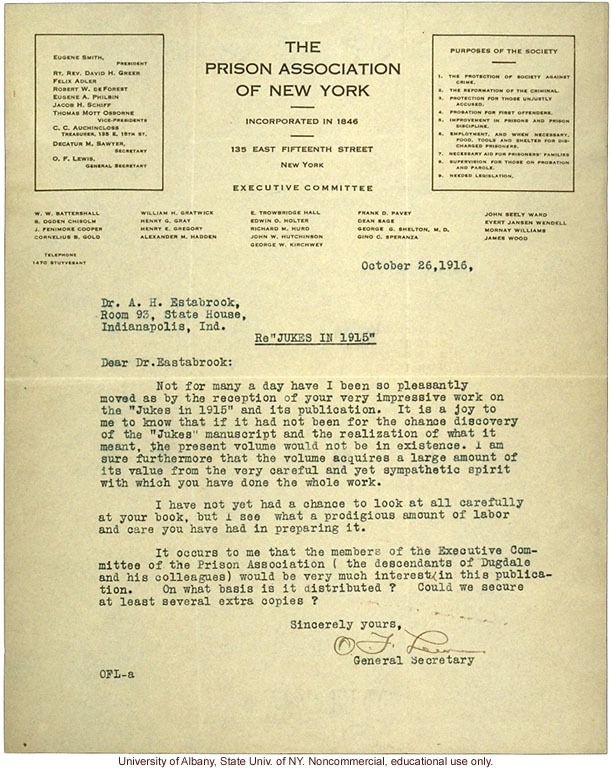 O.F. Lewis (NY Prison Association) letter to A.H. Estabrook, congratulating him on the publication of The Jukes in 1915 (10/26/1916)