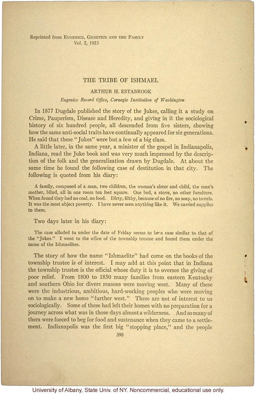 &quote;The Tribe of Ishmael,&quote; by Arthur H. Estabrook, in Eugenics, Genetics and the Family (vol. 1)