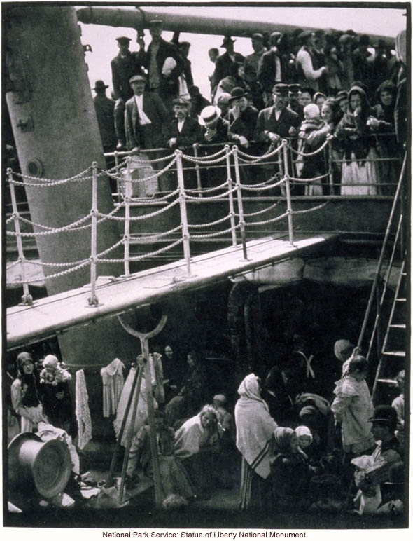 Immigrants in steerage (lower) on board steamship arriving at Ellis Island