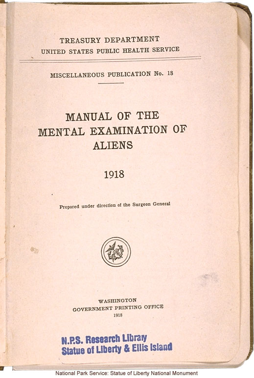 <i>Manual of the Mental Examination of Aliens</i>, United States Public Health Service