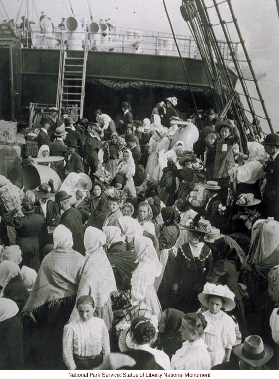 Immigrants waiting to land in New York