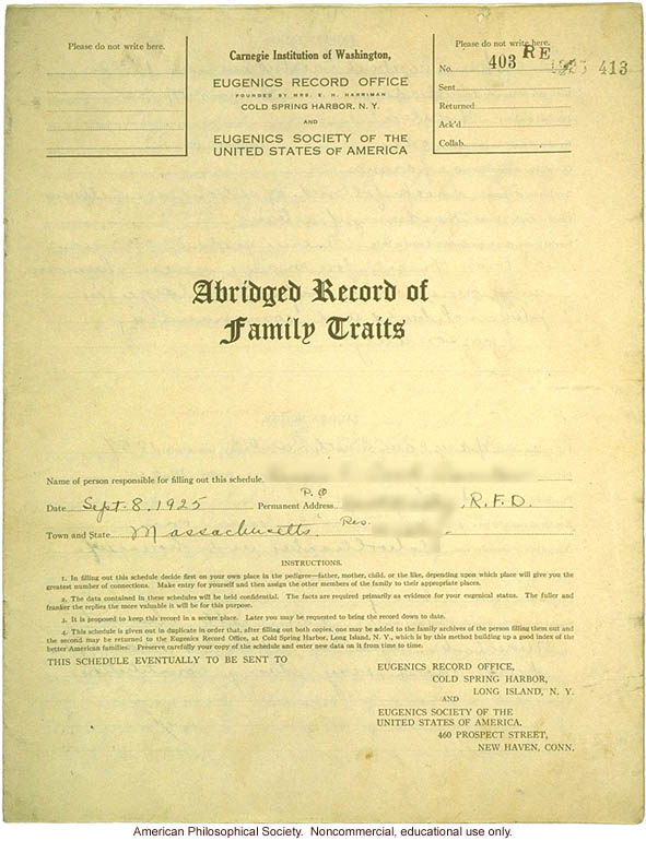 &quote;Large family&quote; winner, Fitter Families Contest, Eastern States Exposition, Springfield, MA (1925): Abridged record of family traits