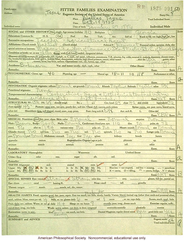 &quote;Large family&quote; winner, Fitter Families Contest, Texas State Fair (1925): individual examinations
