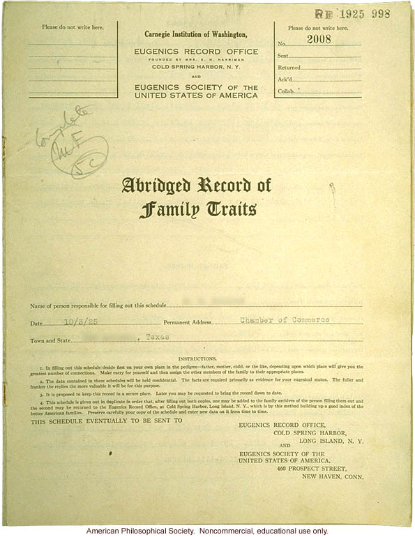 &quote;Large family&quote; winner, Fitter Families Contest, Texas State Fair (1925): Abridged record of family traits