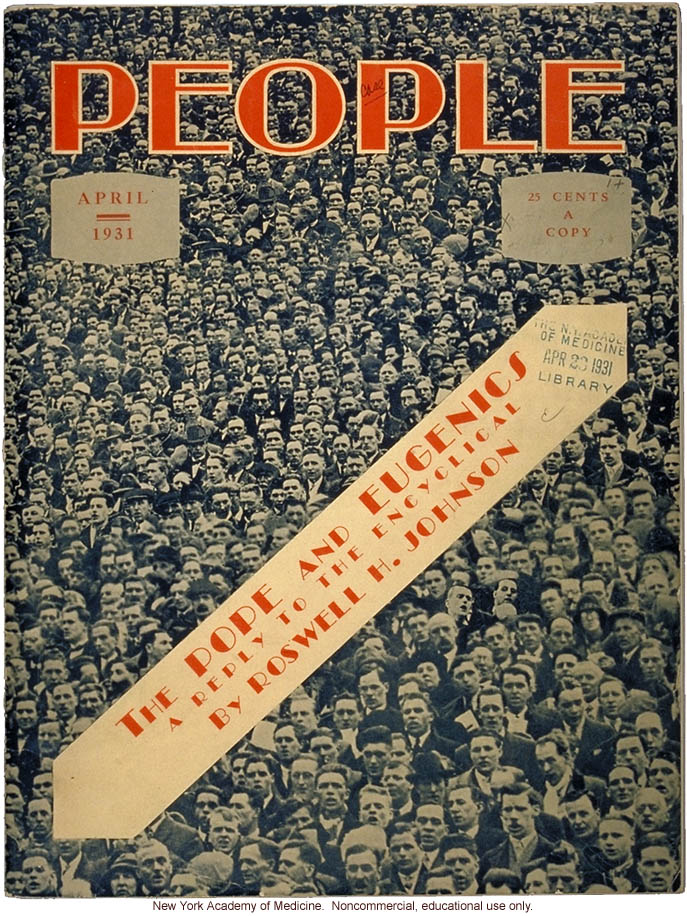 People, A Magazine for all the People (April 1931), American Eugenics Society, cover