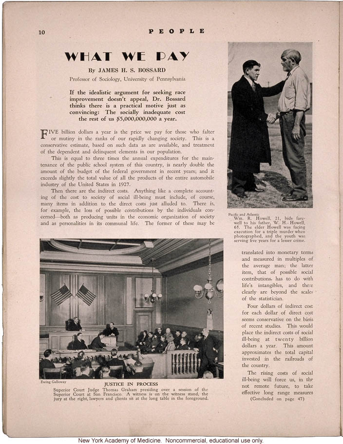 &quote;What We Pay,&quote; by James H.S. Bossard, People Magazine (April 1931), cost of the socially inadequate