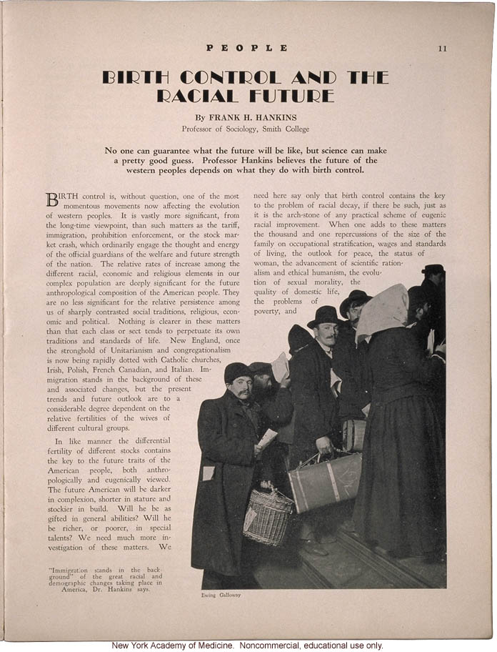 &quote;Birth Control and the Racial Future,&quote; by Frank H. Hankins, People (April 1931)