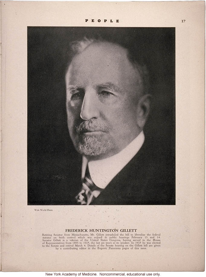 Profile of Frederick Huntington Gillett, People (April 1931)