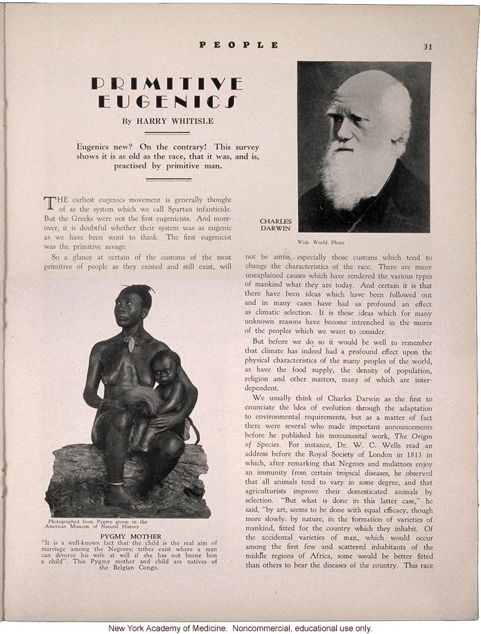 &quote;Primitive Eugenics,&quote; by Harry Whitisle, People (April 1931), history of eugenic practices around the world