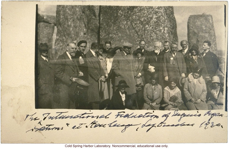Harry H. Laughlin (far left) with International Federation of Eugenics Organizations at Stonehenge, England