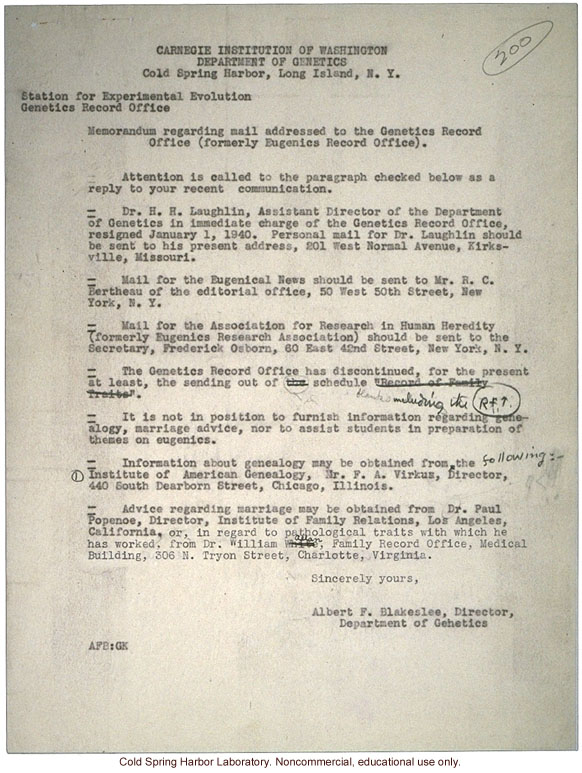 Albert F. Blakeslee memo about procedures for answering mail after closure of the Eugenics Record Office
