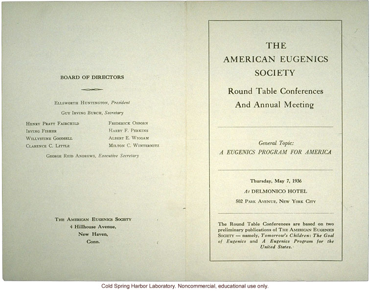 American Eugenics Society, program for  &quote;Round Table Conferences and Annual Meeting,&quote; New York, 1936