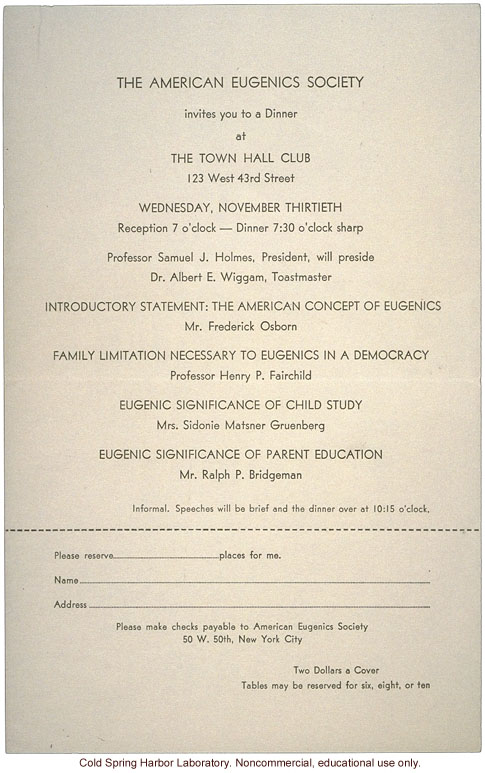 American Eugenics Society, dinner invitation, program including Albert Wiggam and Frederick Osborn, New York