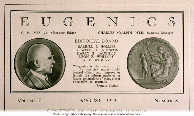Eugenics: A Journal of Race Betterment (vol II:8), title page including Francis Galton's definition of eugenics and Fitter Families medal