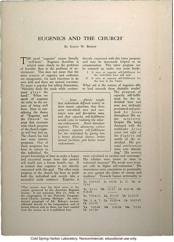 &quote;Eugenics and the Church,&quote; by Edwin Bishop, Eugenics: A Journal of Race Betterment (vol II:8)