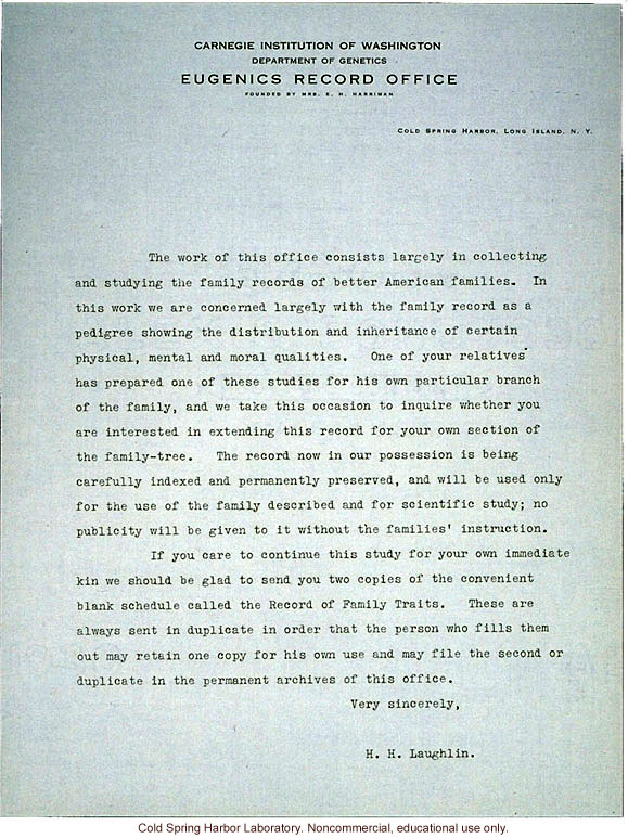 Harry H. Laughlin form letter requesting pedigree information from relatives of a family that had submitted a family study